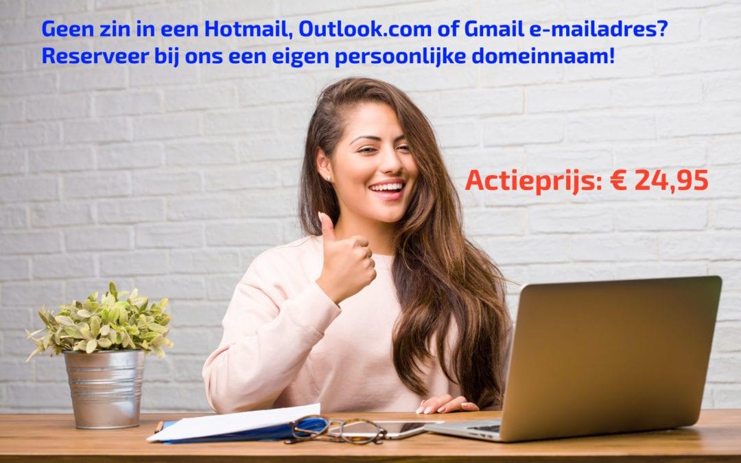 Actie! Eigen domeinnaam en e-mail
